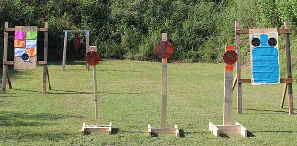 Range set up with post mounted and hanging steel targets