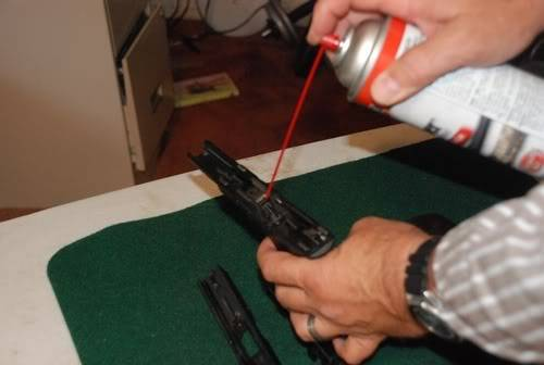 Spraying GLOCK Frame with Brake Cleaner