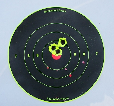 100 yard shot group from a Remington 700 ADL .270 Winchester rifle.