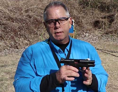 A Smith and Wesson Shield .45ACP with no accessories