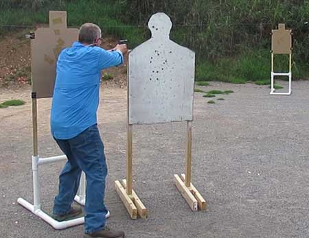 shooting between silhouette targets