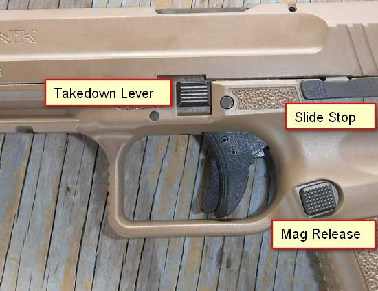Canik TP9SF take down lever, slide stop, and mag release