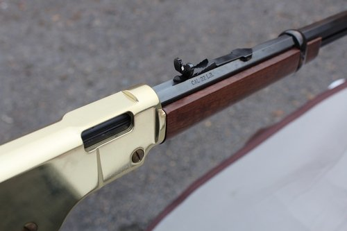Henry .22 lever action rifle chamber side view