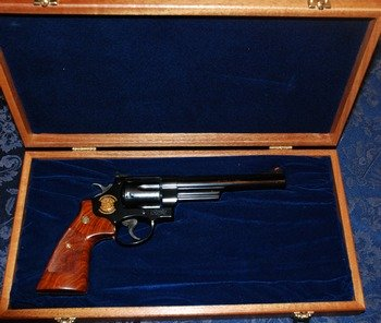Smith and Wesson model 29 .44 magnum in display case