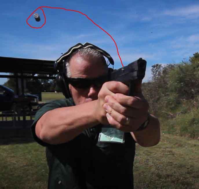 S&W Shield, .45ACP case ejection