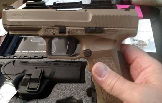 Canik TP9SF 9mm pistol in Desert Brown with no external safety or decocker