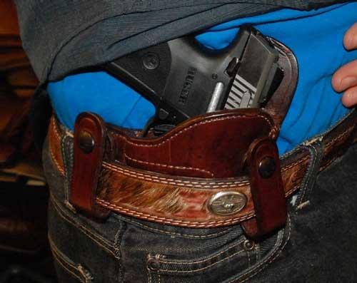 Ruger SR9C pistol In IWB Holster