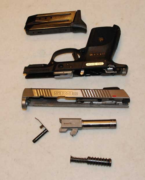 Ruger SR9C Pistol Disassembled