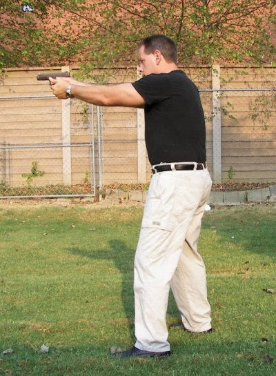 Stance for two handed pistol shooting