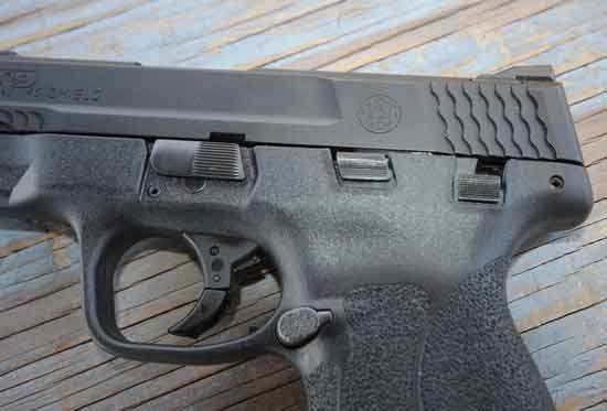 Smith and Wesson Shield .45 ACP side control view