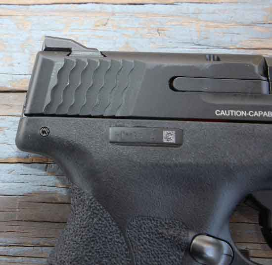 Smith and Wesson Shield .45 slide serrations