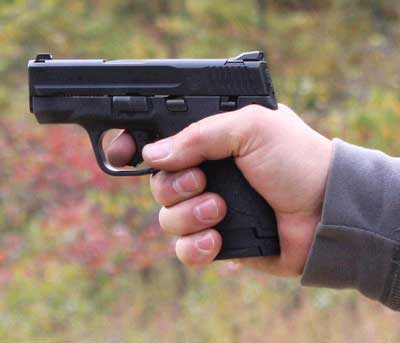 The Smith and Wesson M&P 9mm Shield in my shooting grip