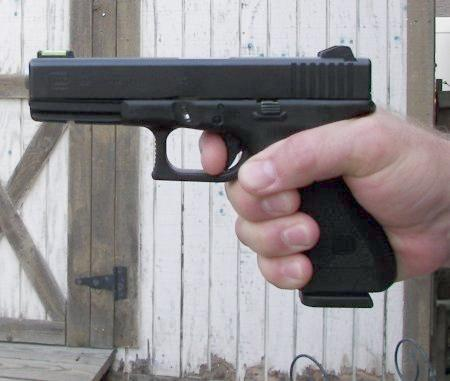 One handed grip on a GLOCK pistol