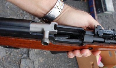 SKS carbine with bolt open