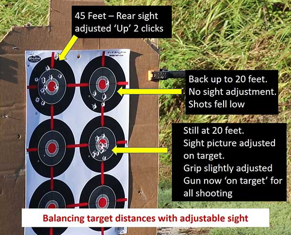 Getting the Walther Q5 Match pistol on target at varying distances